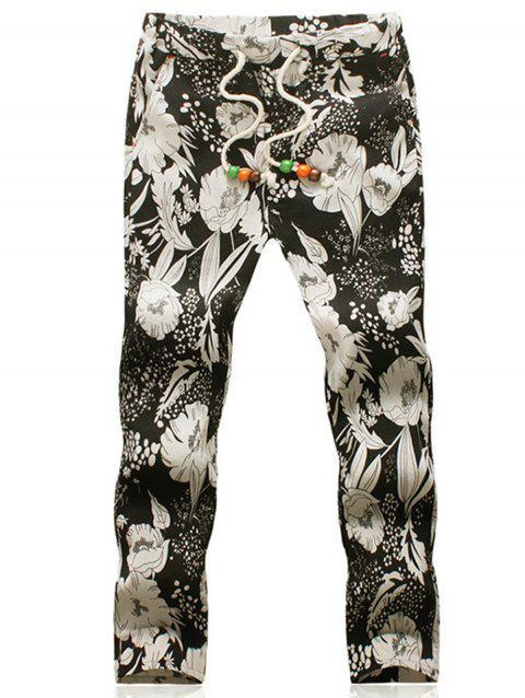 Flower Print Cotton Linen Blended Casual Pants - COLORMIX 4XL