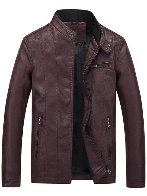 Casual Flocking Faux Leather Jacket - DEEP RED XL