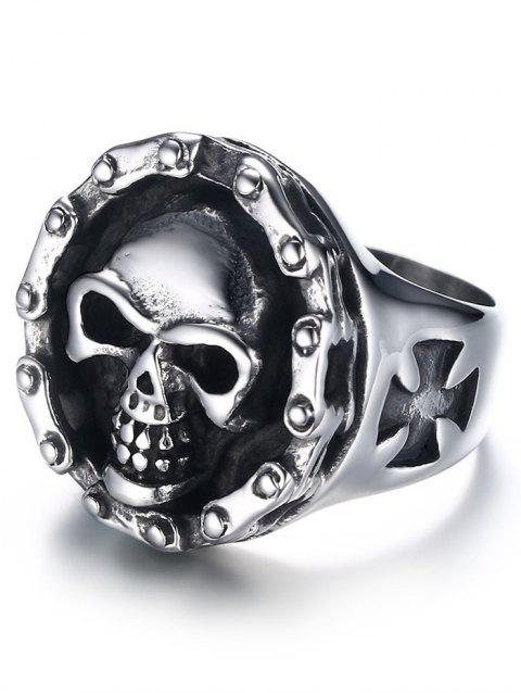 Stainless Steel Engraved Skull Crucifix Ring - SILVER 10
