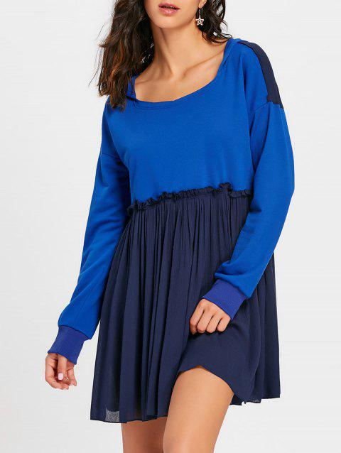 Hooded Long Sleeve Pleated Dress - ROYAL S