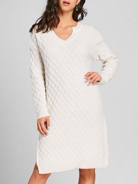 High Slit V Neck Argyle Sweater Dress - WHITE ONE SIZE