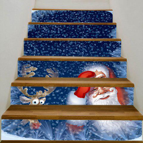 Santa and Elk Printed DIY Stair Stickers - BLUE 100*18CM*6PCS