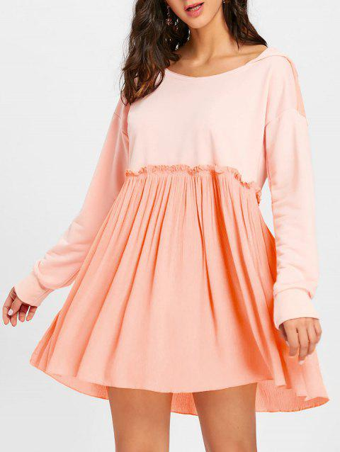 Hooded Long Sleeve Pleated Dress - PAPAYA L