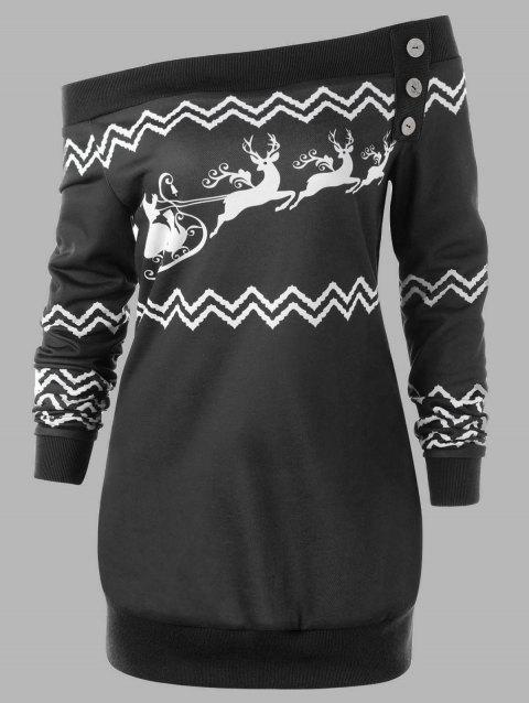 Plus Size Pullover Zigzag Deer Skew Neck Christmas Sweatshirt - BLACK 2XL