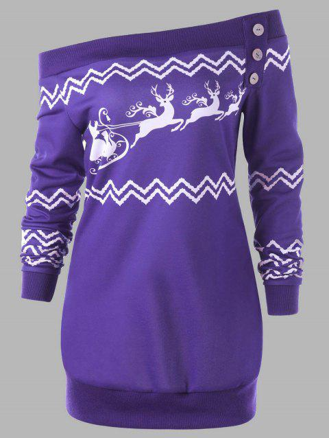 Plus Size Pullover Zigzag Deer Skew Neck Christmas Sweatshirt - PURPLE 4XL