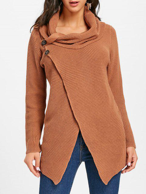 Cowl Neck Split Front Knitted Sweater - BROWN 2XL