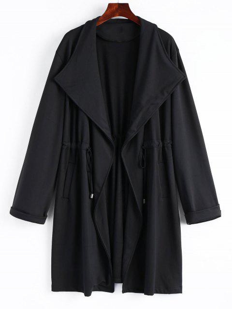 High Waist Plus Size Long Coat - BLACK 3XL