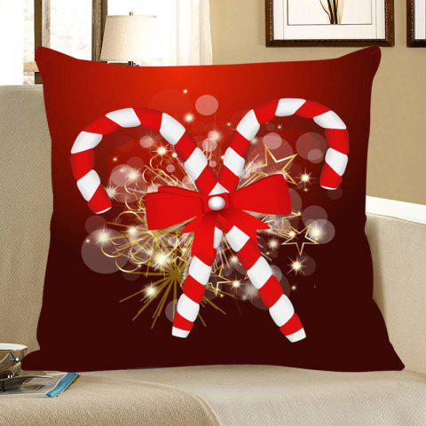 Christmas Candies Canes Printed Throw Pillow Case - DEEP RED W18 INCH * L18 INCH