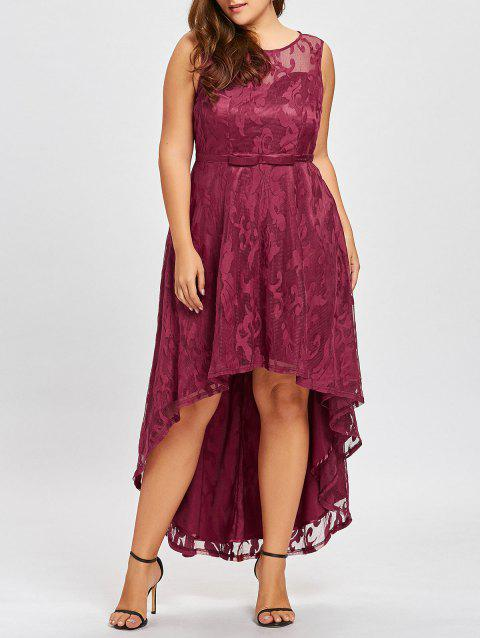 Plus Size Lace High Low Evening Dress - WINE RED 2XL