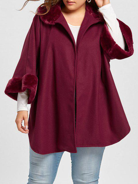 Plus Size Plush Trim Side Slit Coat - WINE RED XL