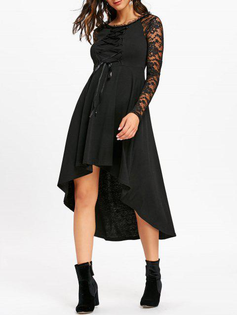 Lace Up Dip Hem Midi Dress - BLACK L