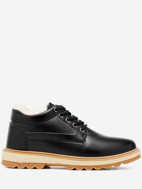 PU Leather Stitching Low Heel Casual Shoes - BLACK 44