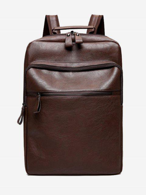 Multi Function PU Leather Backpack - BROWN