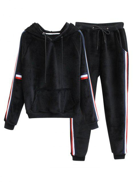 Striped Fuzzy Hoodie and Drawstring Sweatpants - BLACK S