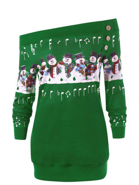 Plus Size Christmas Snowman Off The Shoulder Sweatshirt - GREEN 5XL