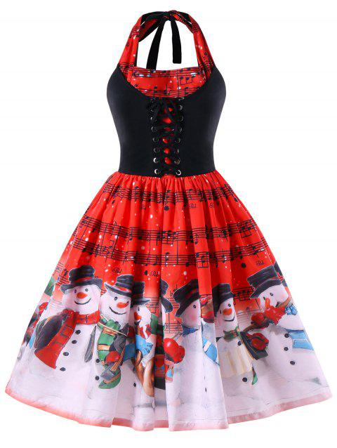 Christmas Plus Size Music Notes Halter Swing Dress - RED XL
