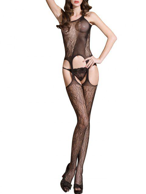 Découpez Bodystockings de jarretelles d'entrejambe - Noir ONE SIZE