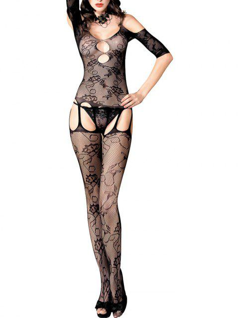 Open Crotch Cold Shoulder Fishnet Bodystockings - BLACK ONE SIZE