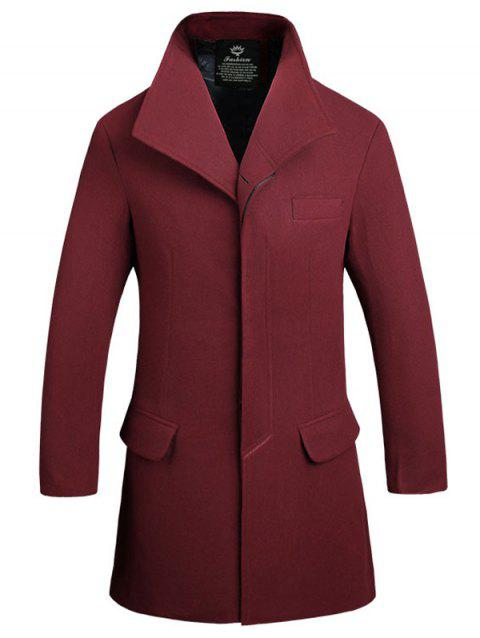 Manteau en Laine Long à Boutonnage Simple à Fermeture Invisible - Rouge vineux L