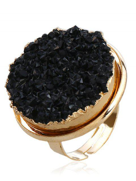 Engraved Faux Crystal Round Finger Ring - BLACK ONE-SIZE