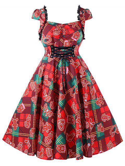 Christmas Plus Size Plaid Lace Up Vintage Dress