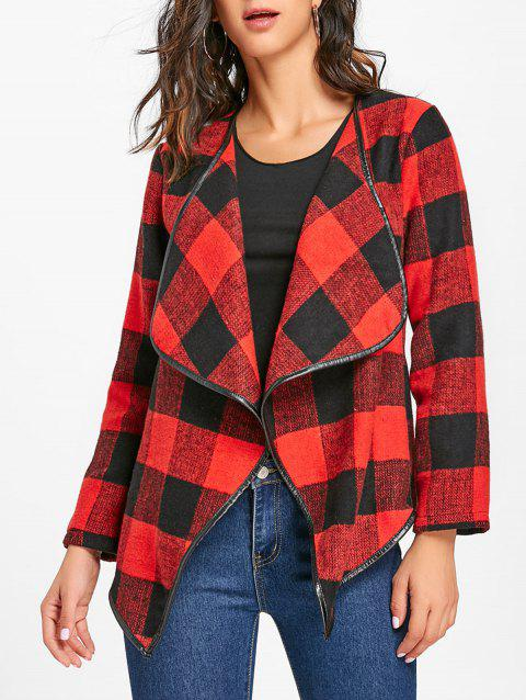 Plaid Turndown Collar Jacket - RED/BLACK M