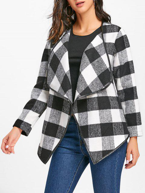 Plaid Turndown Collar Jacket - WHITE/BLACK L