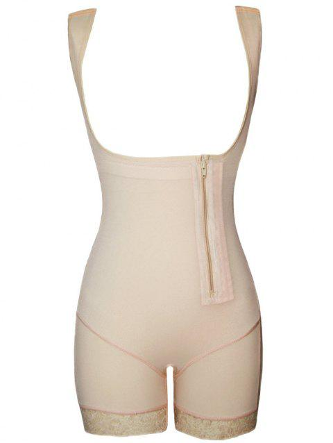 Lace Trim Zip Open Bust Shaping Bodysuit - COMPLEXION XL