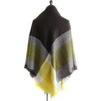 Vintage Plaid Pattern Color Block Faux Wool Shawl Scarf - PEARL LEMON YELLOW