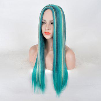 Long Center Parting Colormix Straight Synthetic Party Wig - COLORMIX
