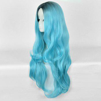 Long Center Parting Wavy Ombre Party Synthetic Wig - BLUE/BLACK
