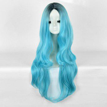 Long Center Parting Wavy Ombre Party Synthetic Wig - BLUE AND BLACK BLUE/BLACK