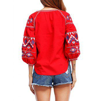 Tribal Print Tassels Puff Sleeve Blouse - RED RED