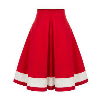 High Waisted Buttoned Midi Pleated Skirt - RED L