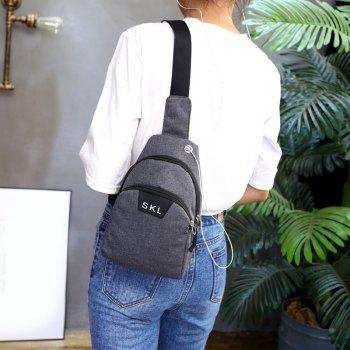 Headphone Hole Letter Print Chest Bag -  DEEP GRAY