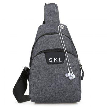Headphone Hole Letter Print Chest Bag - DEEP GRAY DEEP GRAY