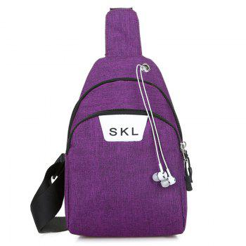 Headphone Hole Letter Print Chest Bag - PURPLE PURPLE