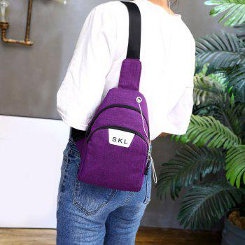 Headphone Hole Letter Print Chest Bag -  PURPLE