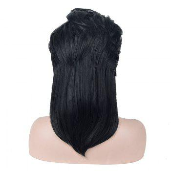 Deep Side Parting Layered Long Straight Synthetic Wig -  BLACK