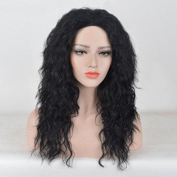 Long Center Parting Fluffy Water Wave Party Synthetic Wig - BLACK BLACK