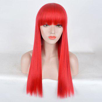 Long Neat Bang Straight Synthetic Party Wig - RED RED