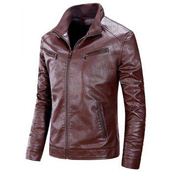 Zipper Up Flocking PU Leather Jacket - CLARET CLARET