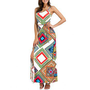 Geometrical Cut Out High Slit Maxi Dress - WHITE WHITE