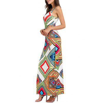 Geometrical Cut Out High Slit Maxi Dress - WHITE S