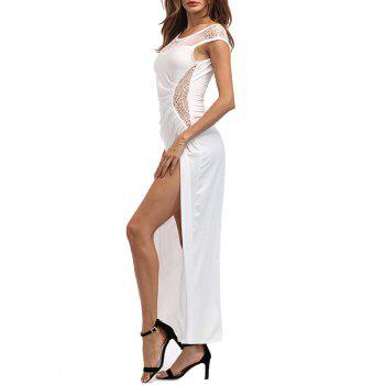 High Slit Draped Maxi Party Dress - WHITE XL