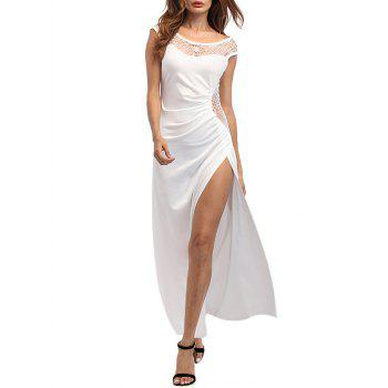 High Slit Draped Maxi Party Dress - WHITE WHITE