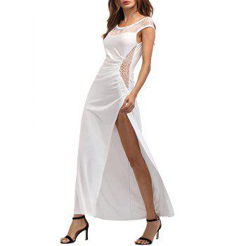 High Slit Draped Maxi Party Dress - WHITE M