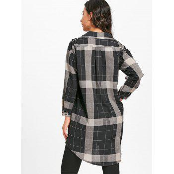Long Sleeve Plaid Midi Shirt Dress - BLACK XL