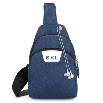 Headphone Hole Letter Print Chest Bag - BLUE BLUE