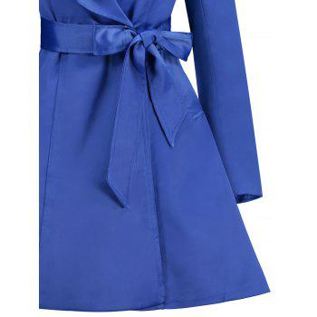 Skirted Turndown Collar Belted Coat - BLUE BLUE